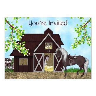 Invitación occidental del cumpleaños del granero