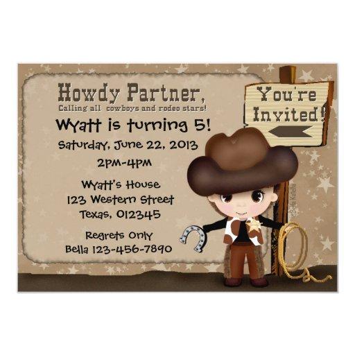 Invitación occidental del cumpleaños del vaquero