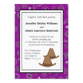 Invitación occidental púrpura del boda del gorra