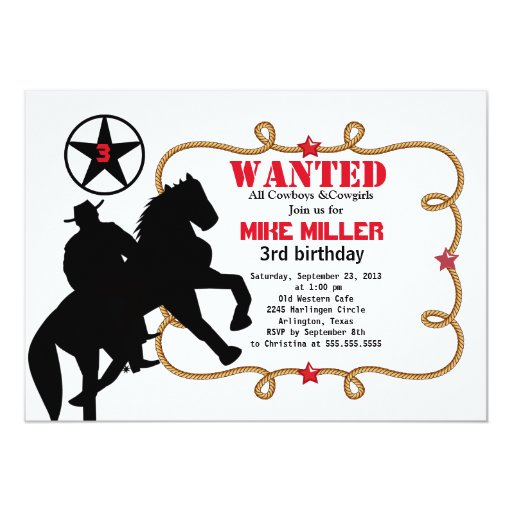 Invitación occidental querida linda del vaquero invitación 12,7 x 17,8 cm
