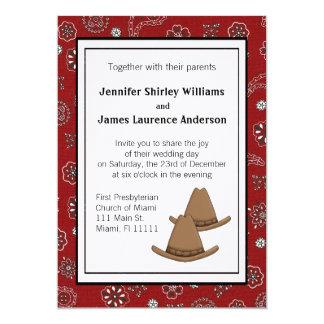 Invitación occidental roja del boda del gorra de
