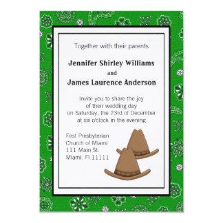Invitación occidental verde del boda del gorra de