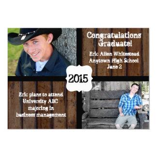 Invitación oscura 2015 de la graduación de la foto invitación 12,7 x 17,8 cm