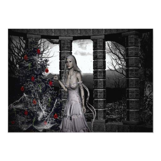 Invitación oscura de la fiesta de Navidad