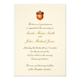 Invitación otoñal elegante de la bellota invitación 12,7 x 17,8 cm