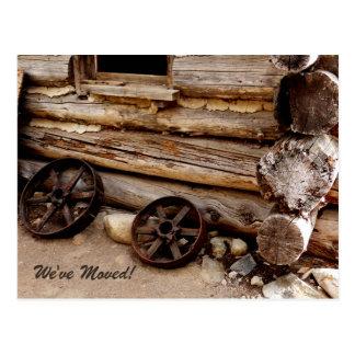 Invitación oxidada de la dirección de las ruedas d postal