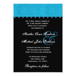Invitación P404 del boda del damasco de