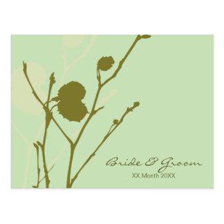 Invitación P del boda de la ramita GREEN-MINT Tarjeta Postal