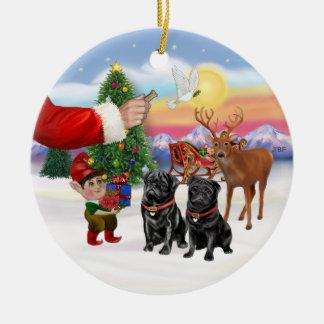 Invitación para dos barros amasados negros ornamento para arbol de navidad