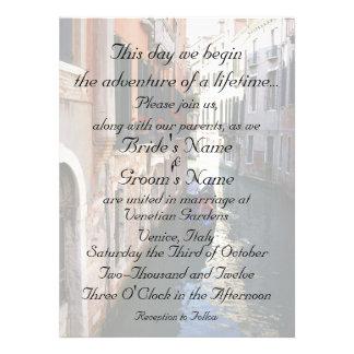 Invitación para el boda temático de Venecia