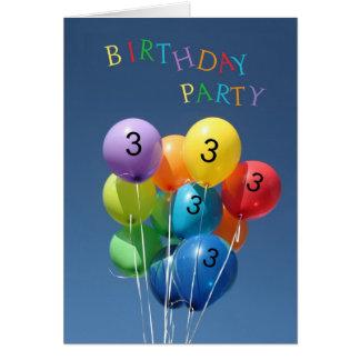 Invitación para los 3ro globos coloreados de la fi tarjetas