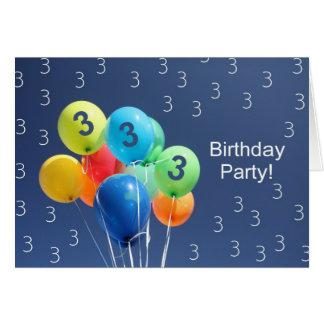 Invitación para los 3ro globos coloreados de la fi tarjeta