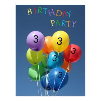 Invitación para los 3ro globos coloreados de la fi postales