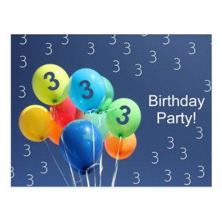 Invitación para los 3ro globos coloreados de la fi tarjeta postal