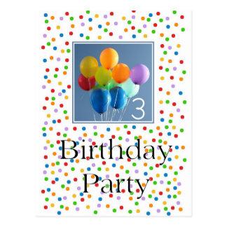 Invitación para los 3ro globos coloreados de la fi tarjetas postales