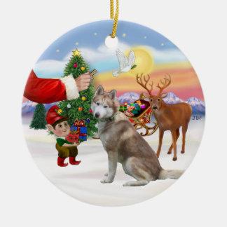 Invitación para un husky siberiano (rojo) adorno navideño redondo de cerámica