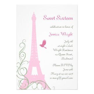 Invitación parisiense del cumpleaños blanca
