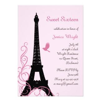Invitación parisiense del cumpleaños rosa