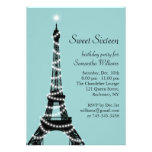 Invitación parisiense del dulce 16 de la turquesa