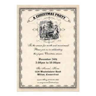 Invitación pasada de moda de la fiesta de Navidad