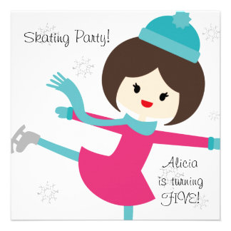 Invitación patinadora del cumpleaños del chica tri