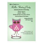 Invitación patinadora del fiesta del búho rosado