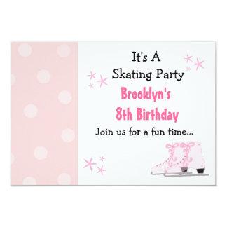 Invitación patinadora rosada del cumpleaños del