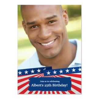 Invitación patriótica americana de la foto de invitación 12,7 x 17,8 cm
