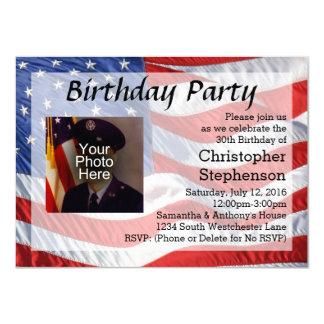 Invitación patriótica de la fiesta de cumpleaños