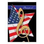 Invitación patriótica de la música felicitación
