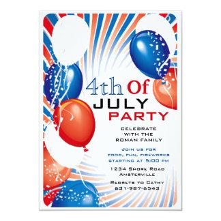 Invitación patriótica de los globos invitación 12,7 x 17,8 cm