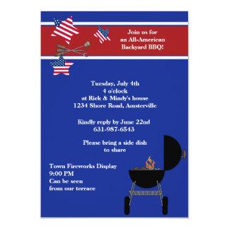 Invitación patriótica del Bbq del fiesta