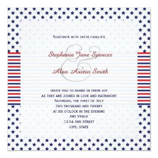 Invitación patriótica del boda del Día de la