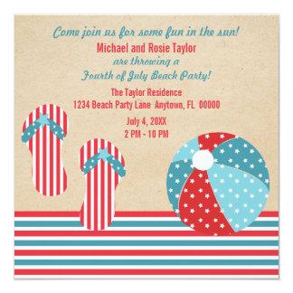Invitación patriótica del fiesta de la playa