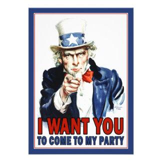 Invitación patriótica del fiesta Tío Sam del vint