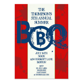 Invitación patriótica moderna sucia del Bbq