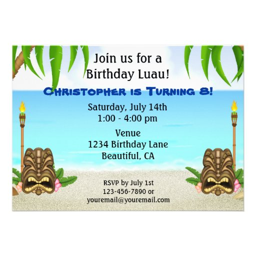 Invitación personalizada del cumpleaños de Luau pa
