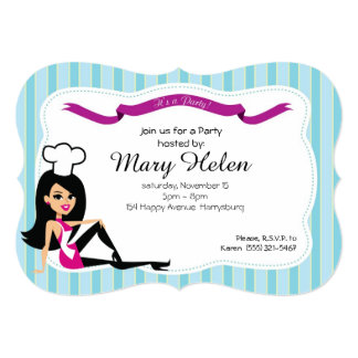 Invitación personalizada fiesta de cocinar fresca