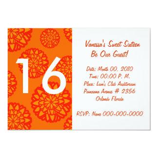 """Invitación-Personalizar anaranjado floreciente del Invitación 5"""" X 7"""""""
