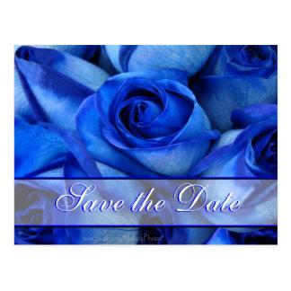 Invitación-personalizar azul de los rosas postales