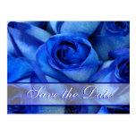 Invitación-personalizar azul de los rosas tarjeta postal