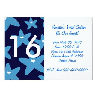 """Invitación-Personalizar azul floreciente del dulce Invitación 5"""" X 7"""""""