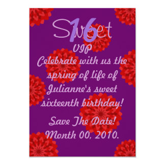 """Invitación-Personalizar floral del dulce dieciséis Invitación 5"""" X 7"""""""