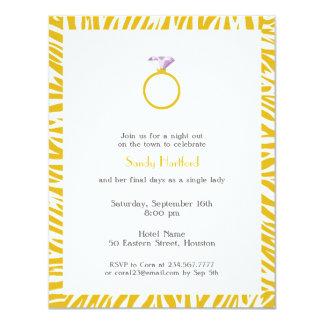 Invitación plana de la cebra del fiesta amarillo