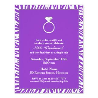 Invitación plana de la cebra del fiesta púrpura de