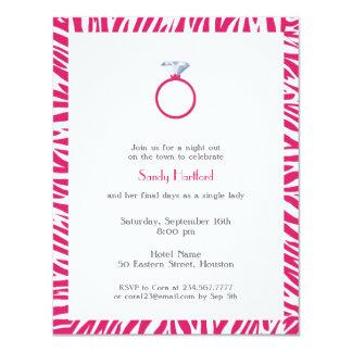 Invitación plana de la cebra del fiesta rosado de