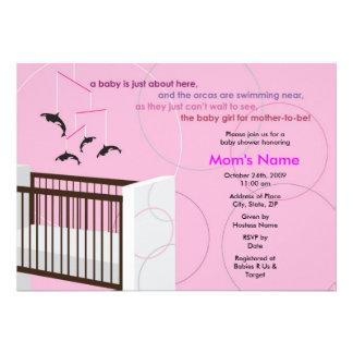 Invitación plana de la fiesta de bienvenida al beb