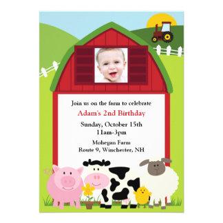 Invitación plana de la granja de la foto del cumpl