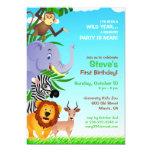 Invitación plana de los animales de la selva del