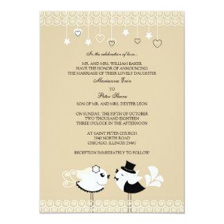 Invitación plana de los pájaros de novia y del